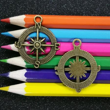 10 PCS - Nautical Compass Directions Rose Bronze Charm Pendant C0379