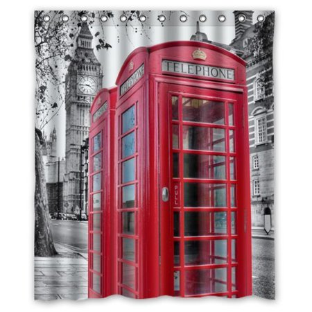GreenDecor Red Telephone Booth Best Of London Waterproof Shower Curtain Set with Hooks Bathroom Accessories Size 60x72