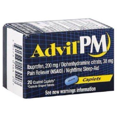 Advil Pm  20 Count  Pain Reliever   Nighttime Sleep Aid Caplet  200Mg Ibuprofen  38Mg Diphenhydramine