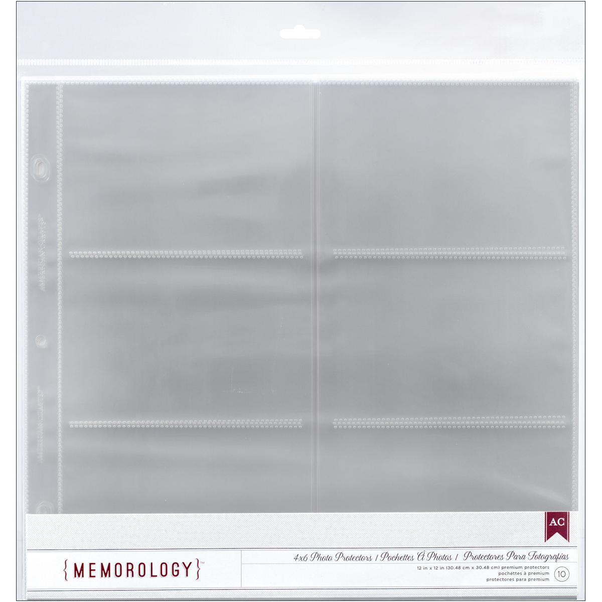 "American Crafts Photo Protectors With Sleeves, 12"" x 12"" Sheet, 10/pkg, 6 (4"" x 6"") Pockets"
