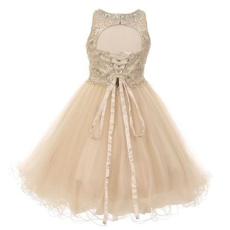 Girls Champagne Rhinestone Halter Neck Tulle Junior Bridesmaid Dress