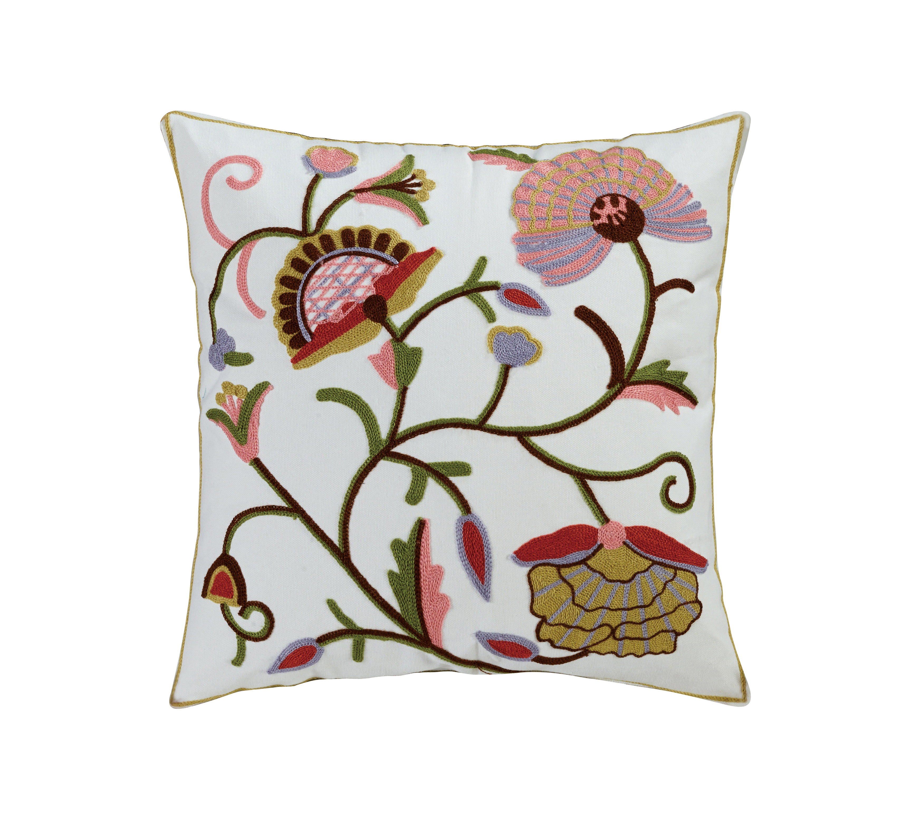 Aya Cotton Embroidered Throw Pillow by Elight Home