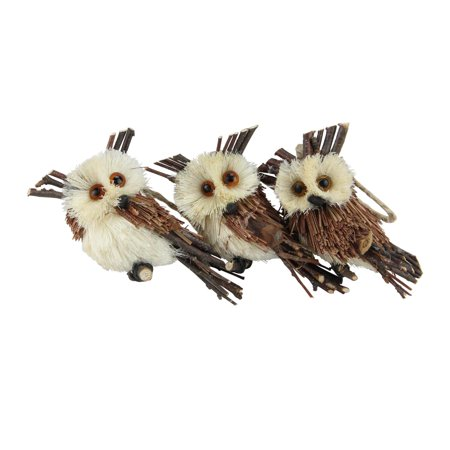 Pack of 3 Brown Owl Sisal Christmas Ornaments 3.75