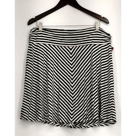 c0c8557469fc Merona - Merona Skirt Sz XXL Striped Print Detail Pull-on Black/White  Womens - Walmart.com