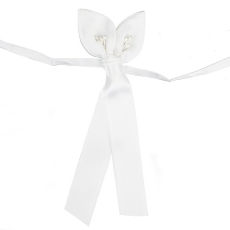 BalsaCircle 4 pcs White Mini Bows with Double Calla Lily - Wedding Favors Birthday Baby Shower Party Candles Decorations Accessories - Baby Shower Accesories
