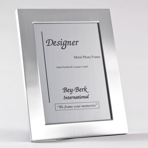 Bey-Berk SF82-12 Brushed Metal 8 x 10 in. Photo Frame - Tarnish Proof