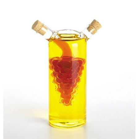 Fox Run Craftsmen Glass Oil & Vinegar Cruet Bottle, Grape Motif, Dishwasher - Grapes Glass Oil Bottle