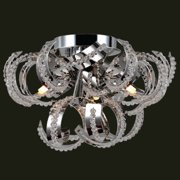 "Worldwide Lighting W33112C12 Chrome Medusa 9 Light 12"" Flush Mount Ceiling Fixture In"