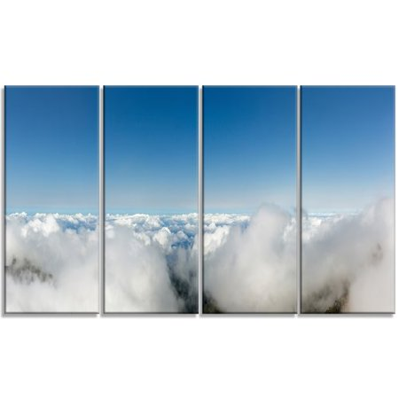 Design Art 'Bright Blue Sky above Clouds' 4 Piece Wall Art on Wrapped Canvas Set
