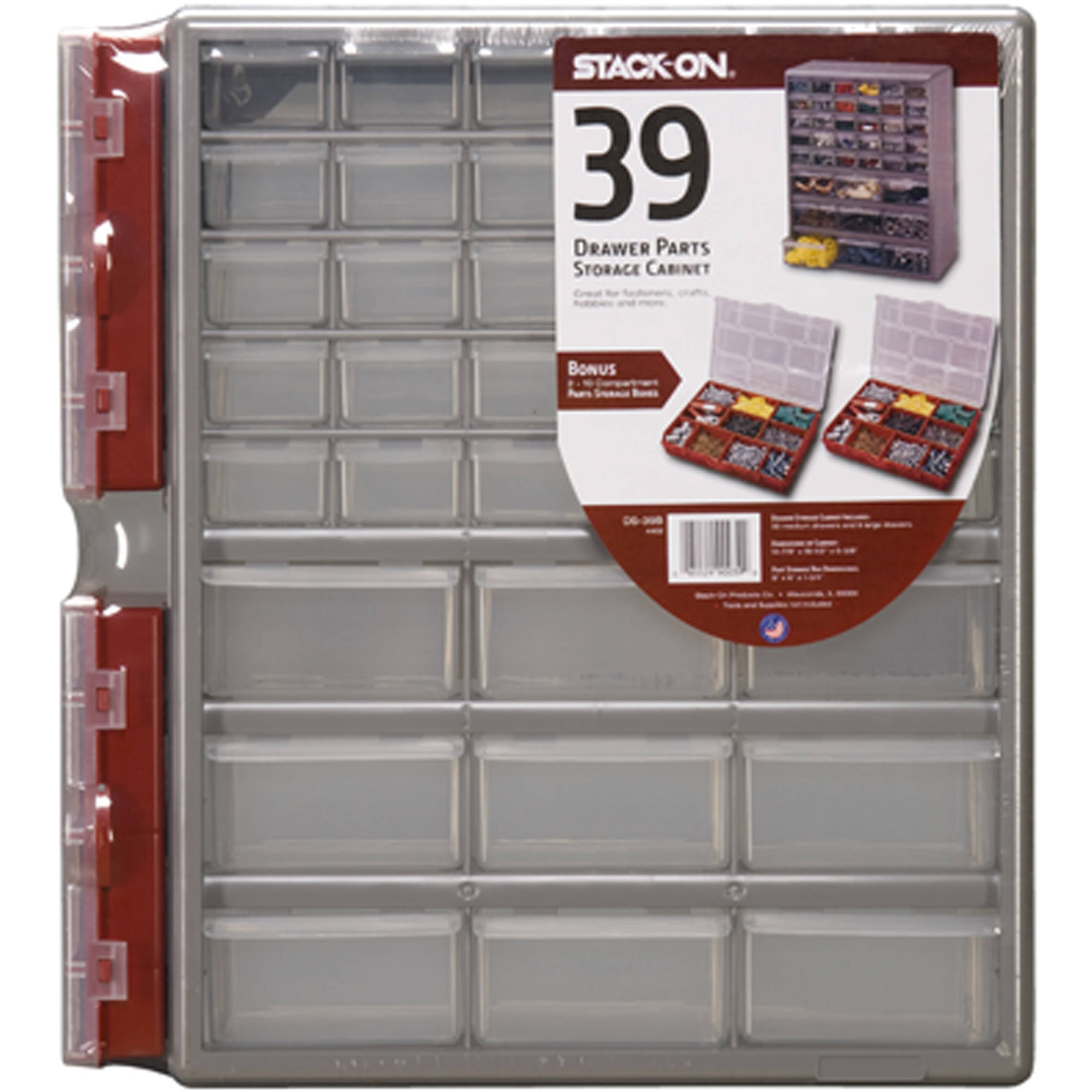 Stack-On DSR-39B 39-Drawer Storage Cabinet with 2-10 Compartment Storage Boxes
