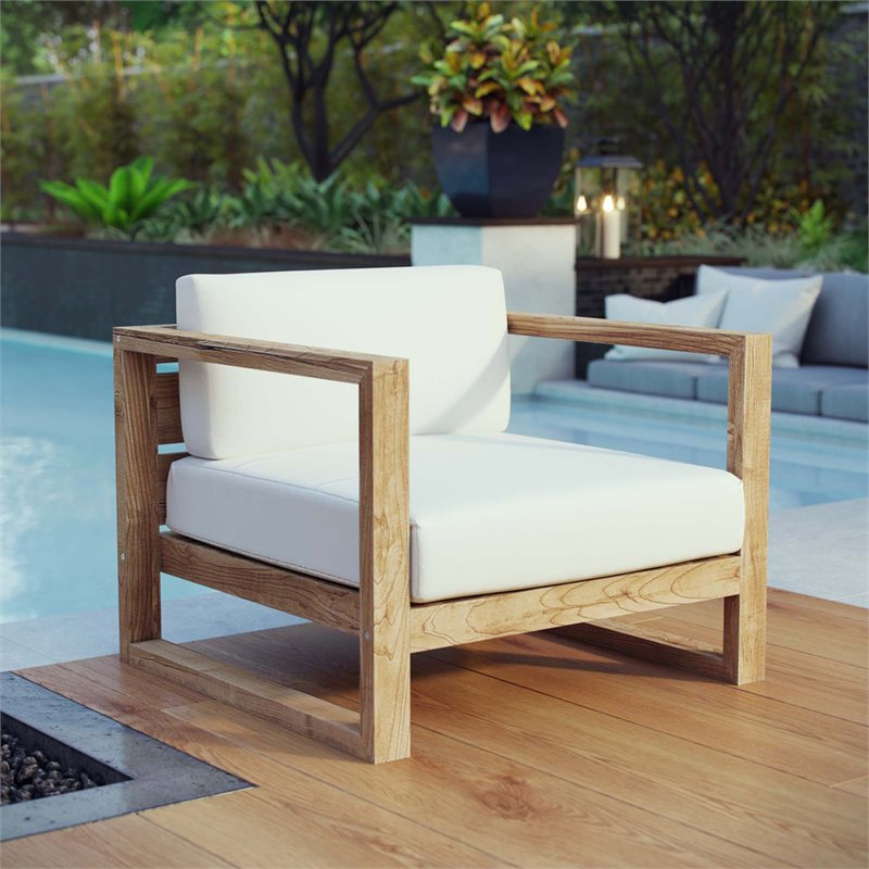Modway Upland Outdoor Patio Teak Armchair in Natural White
