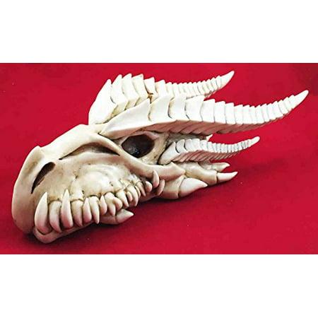 Large Dragon Fossil Skull Remains Legendary Beast Skeleton Head Figurine
