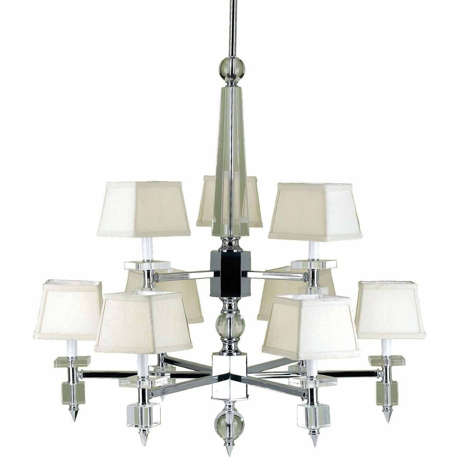 AF Lighting 6761 Nine-Light Chandelier with Cream Shades