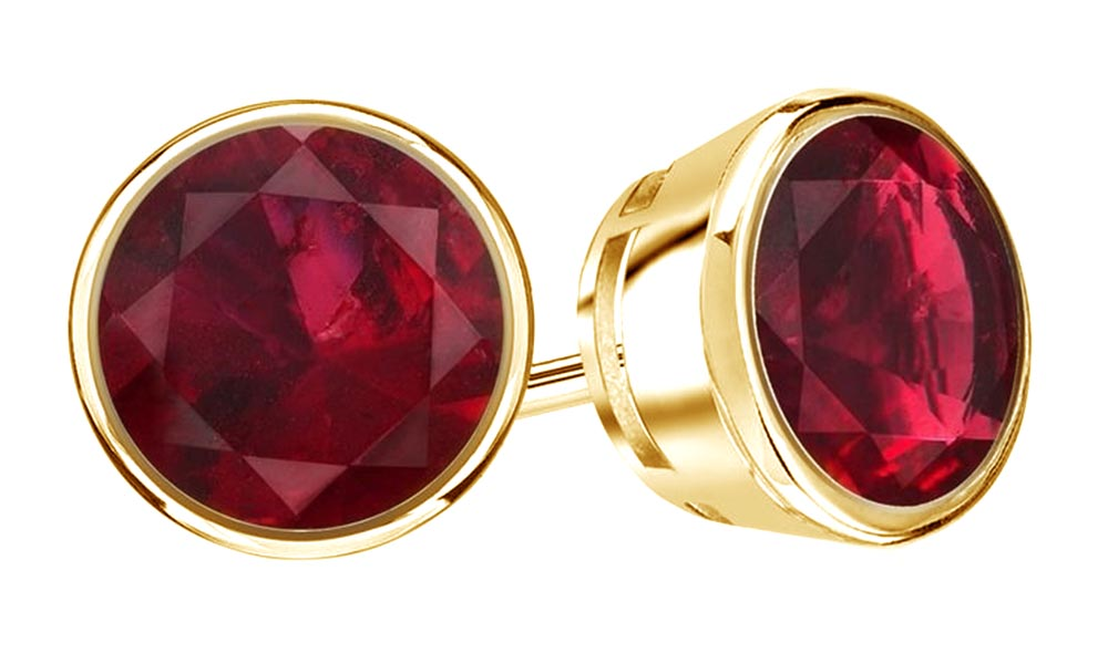 Round Cut Pink Simulated Ruby Cubic Zirconia Stud Earrings In 14K Solid Rose Gold (0.75 Ct) by Jewel Zone US