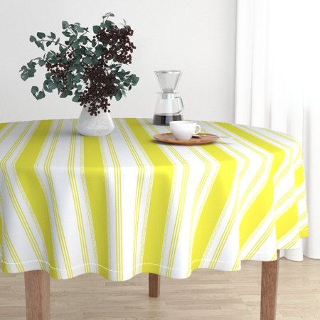 Round Tablecloth French Ticking Citron Green Chartreuse Stripe Cotton Sateen