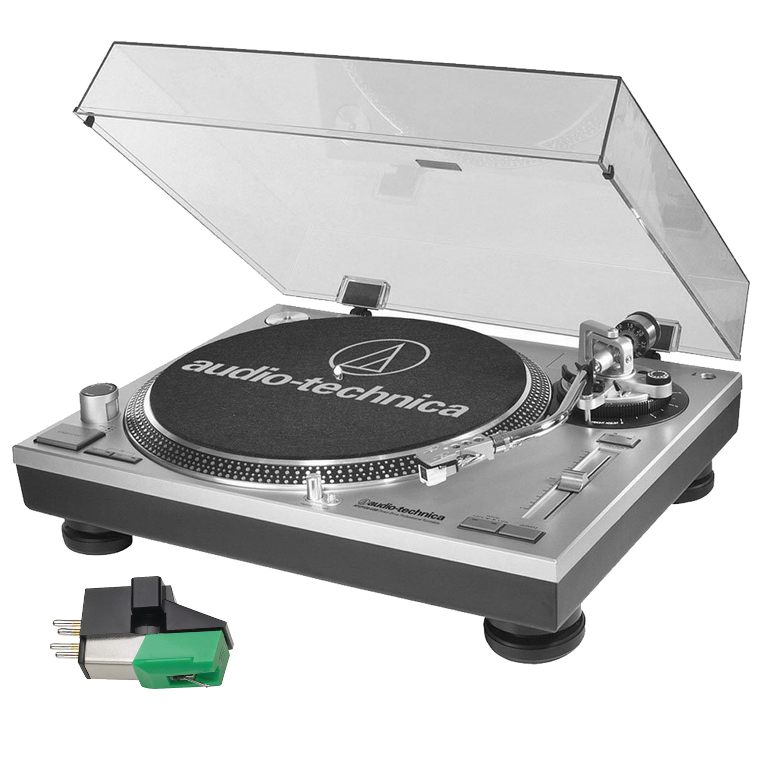 Audio Technica AT-LP120-USB Turntable (Silver) + AT95E Dual Mount Cartridge