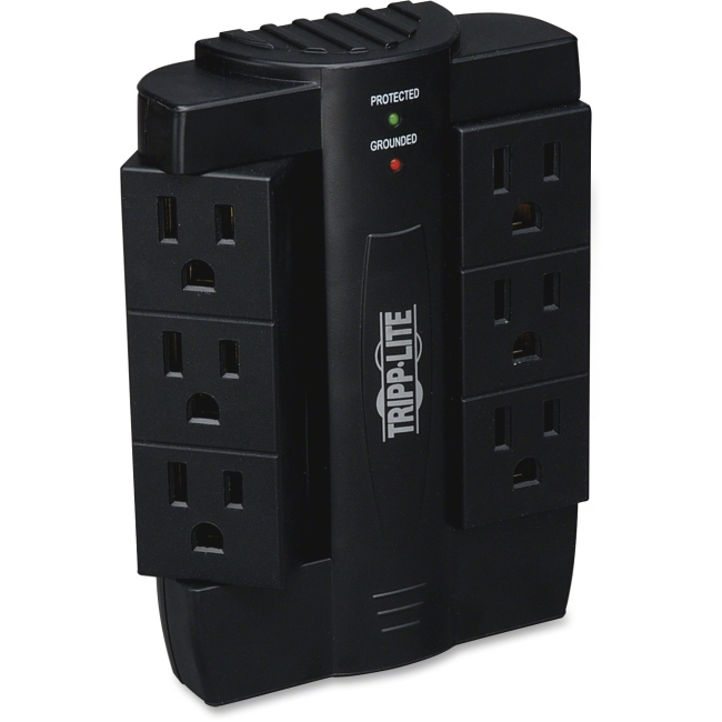 Tripp Lite Surge Protector Swivel 6 Outlet Wallmount Direct Plug In 120V BK - 6 x NEMA 5-15R - 1500 J - 120 V AC Input - 120 V AC Output