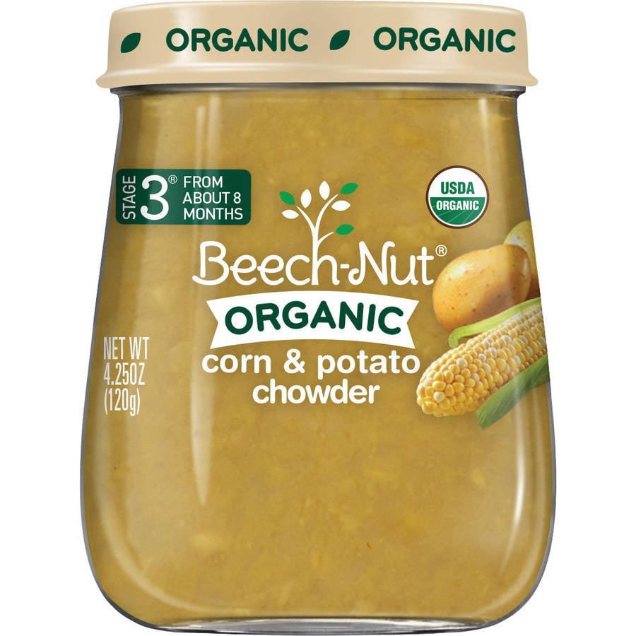 (10 Pack) Beech-Nut Organic Stage 3 Corn & Potato Chowder Baby Food, 4.25 oz