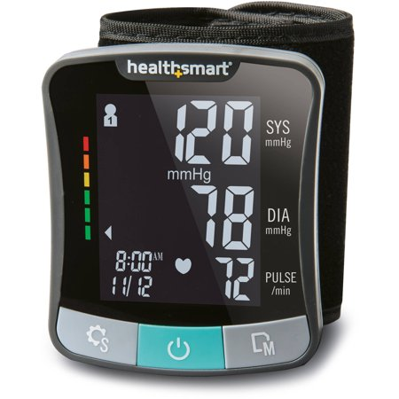 HealthSmart Premium Digital Cuff Wrist Heart Rate Blood Pressure Monitor, Automatic Talking Wrist Blood Pressure Monitor, Two Person 120 Reading Memory, Black and