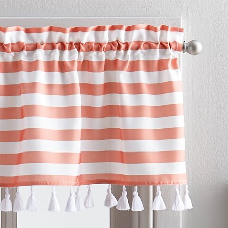 Better Homes & Gardens Stripes and Tassels Kitchen Curtains, Tailored Valance or TIer Pair ()