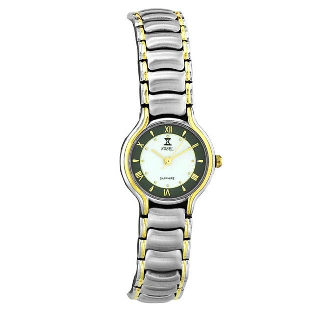 Nobel Watch N 705 LW Stainless Steel Two-tone Ladys Watch  White-Gray Dial Swiss Movement  Sapphire Crystal