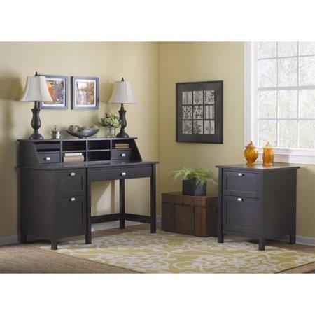 - Bush Broadview Computer Desk with 2 Drawer File Cabinet in Espresso