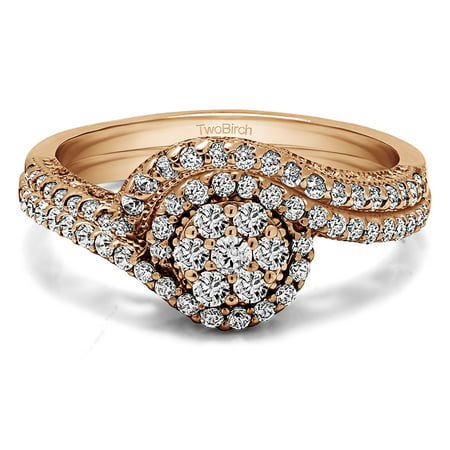 Bridal Set(engagment ring and matching band) set in 14k Gold With Moissanite(0.6tw)