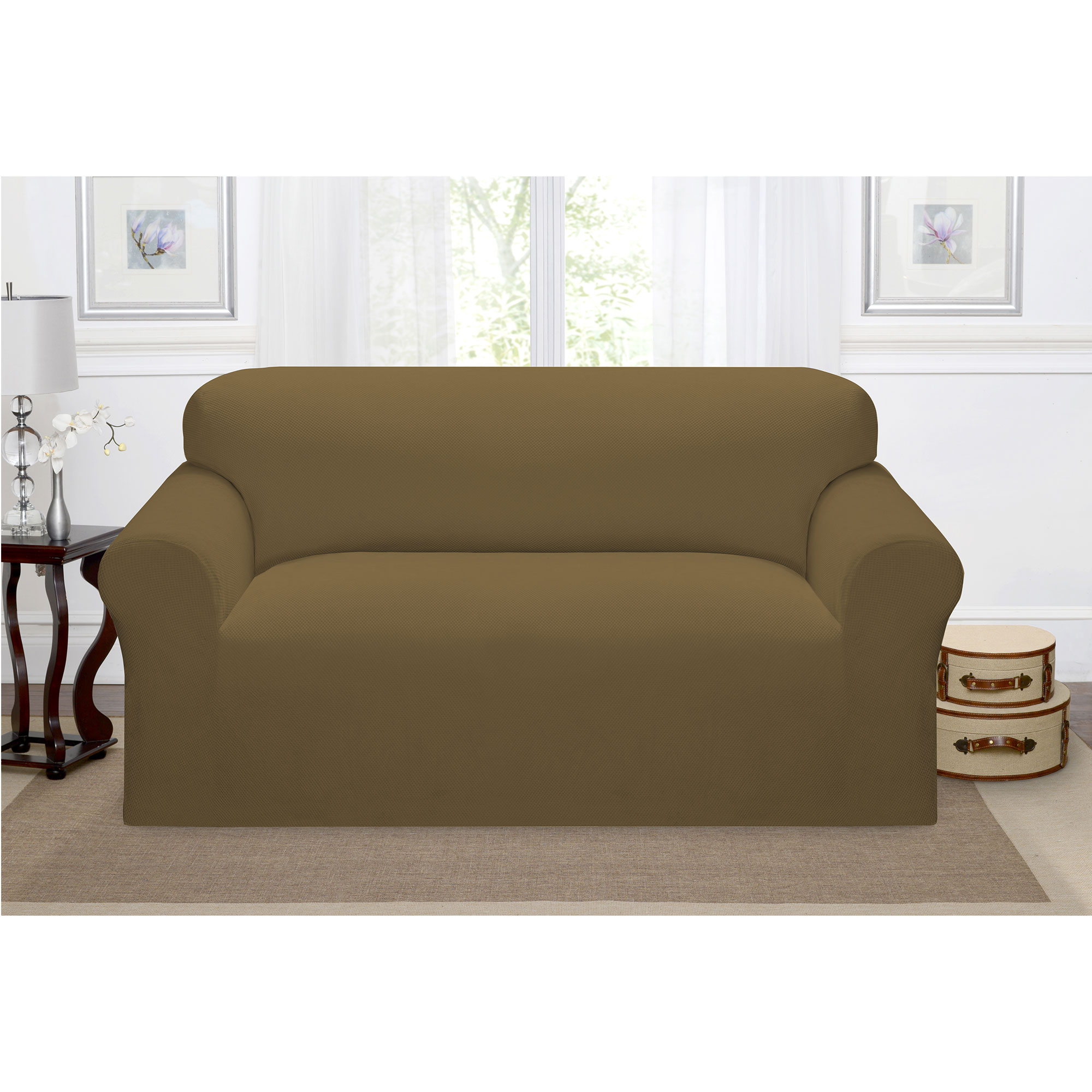 Madison Home Stretch Pique Furniture Slipcover, Soft Waffle Textured Pattern (Loveseat, Chestnut)