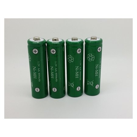 4 Pack AA Batteries Ni-MH 600mAh 1.2V Rechargeable Battery Pack Set (NiMH)