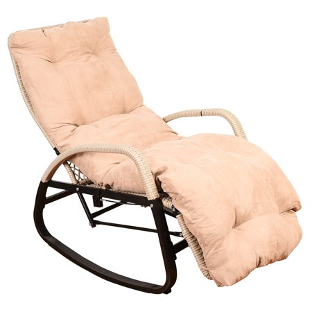 Sundale Outdoor Indoor Wicker Rattan Rocking Chair with Cushion Zero Gravity Lounge Chair Vintage Recliners with Penumatic Adjustment for Patio, Pool, Deck, Home, Weight Capacity 330 LBS, Beige ()