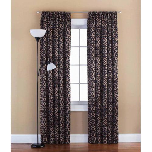 Mainstays Distressed Damask Room Darkening Rod Pocket Polyester Curtain Panel