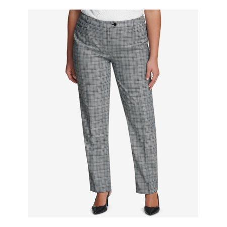 CALVIN KLEIN Womens Gray Plaid Straight leg Pants Plus Size: 24W