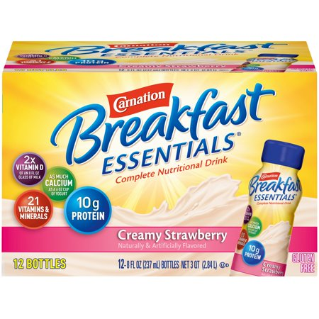 Carnation Breakfast Drink - Carnation Breakfast Essentials Creamy Strawberry Nutritional Drink, 8 Fl. Oz., 12 Count