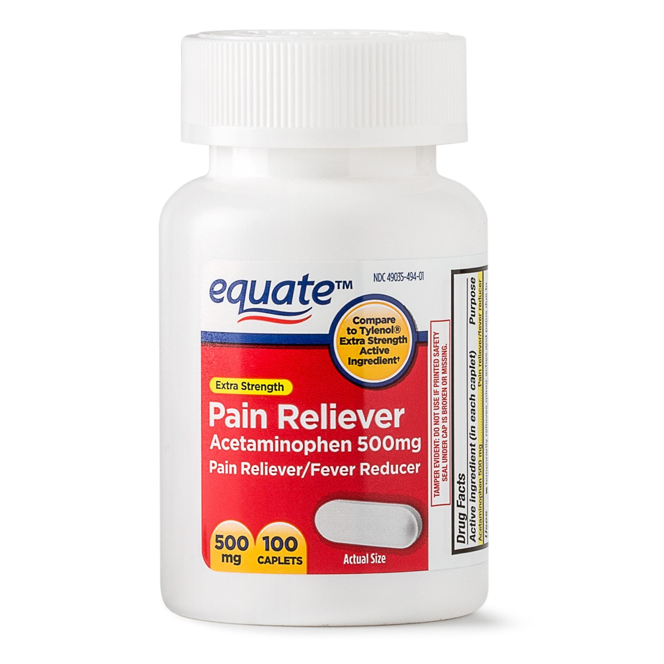 Equate Extra Strength Acetaminophen Caplets, 500 mg, 100 Ct