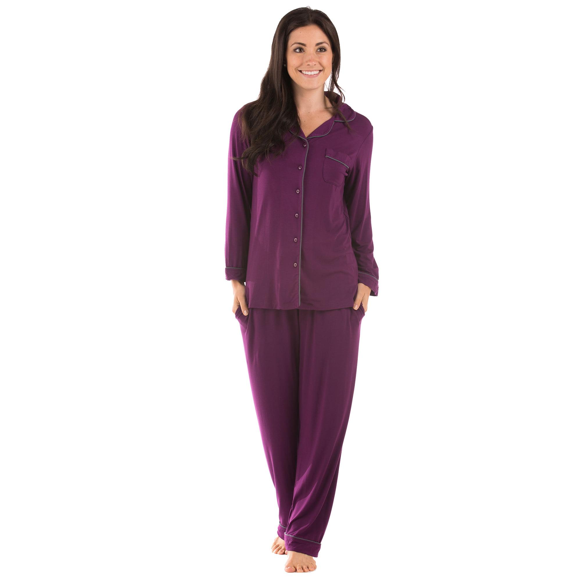 Texere Women s Button-Up Sleepwear Set - Luxury Long Sleeve Lounge PJs  WB0004 - Walmart.com ebd2ba204