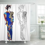 PKNMT Coloring Book Page for Adult Black Ink Contour Drawing for Japanese Woman Bathroom Shower Curtain 66x72 inch