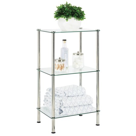 mDesign Bathroom Floor Storage Tower Unit, 3 Tier - Clear Glass/Chrome Metal ()