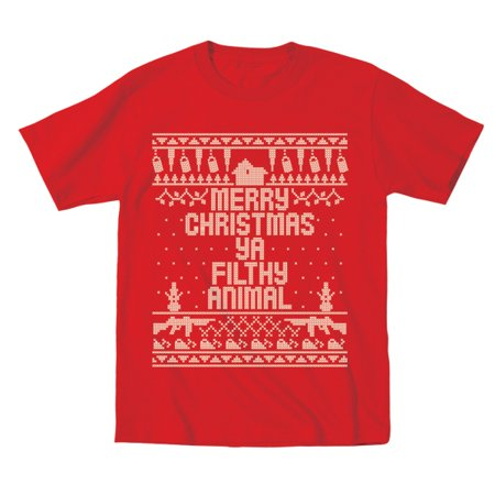 Kids Home Merry Christmas Ya Filthy Animal Toddler 2T Red Toddler T-Shirt