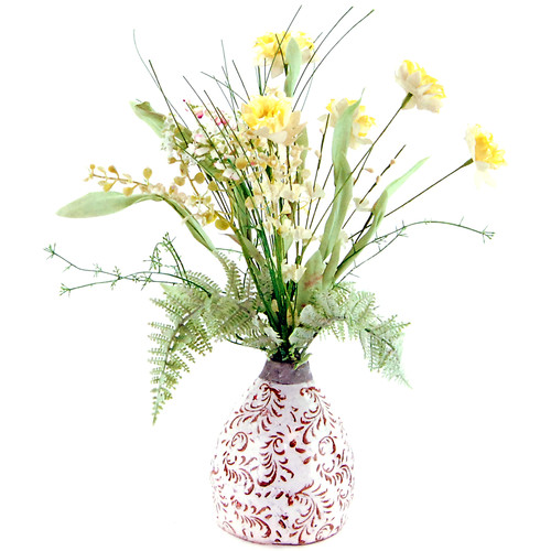 LCG Florals Wildflowers in an Embossed Ceramic Vase