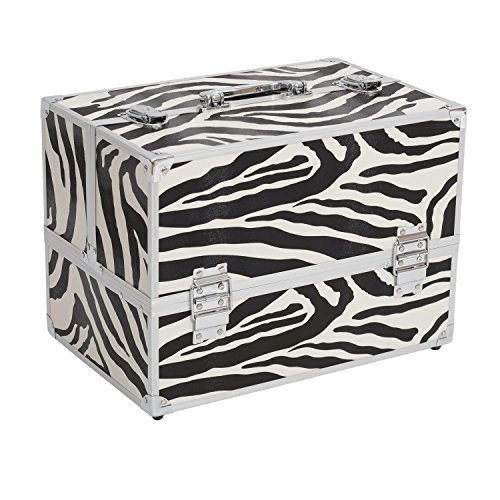 "Soozier 14"" Professional Makeup Case with Pull-Out Trays - Zebra Print"