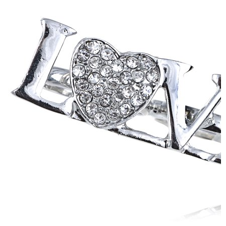 Love Heart Letter I Luv You Rhinestone Crystal Lover Double Finger Knuckle Ring