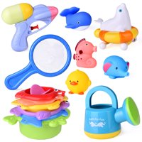Bath Toys for Kids, Baby Pool Toys ,Toddler Educational Toys for 2 Year Olds Sea Animals Bath Stacking Cups Water Gun 14Pcs F-195