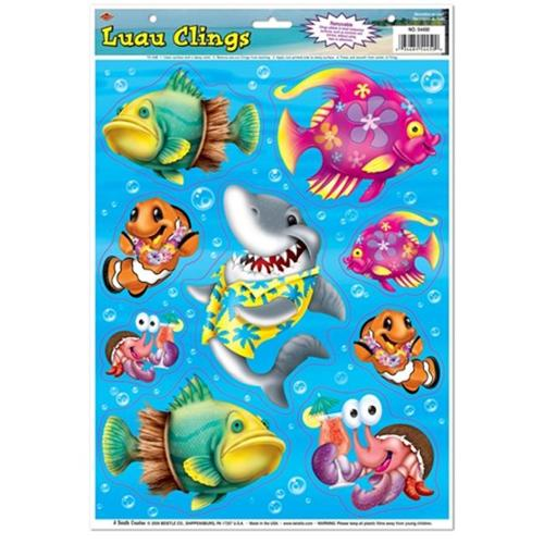 Beistle 54450 The Colorful Luau Clings Pack of 12