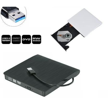 Whizzotech Slim External USB 3.0 DVD ROM RW CD Writer Drive Burner Reader Player for Apple Macbook Pro Air iMAC,Windows Laptop PC (White) (External Cd Rom Drive Dell)