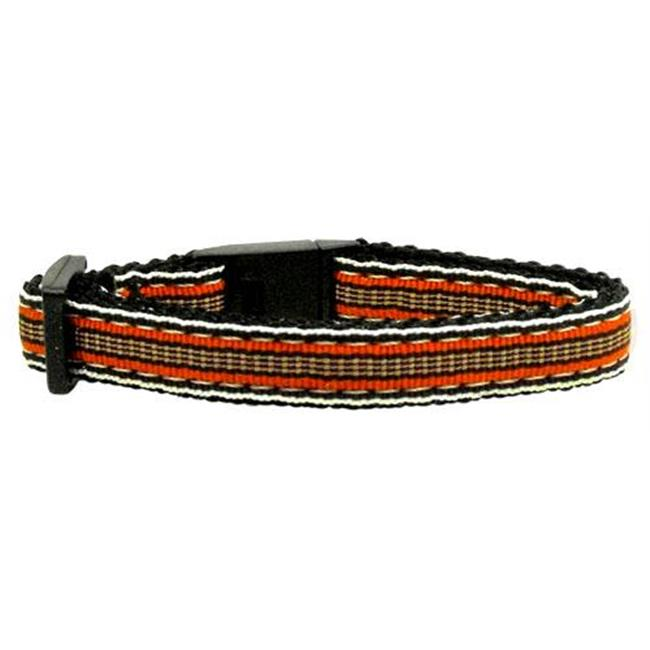 Preppy Stripes Nylon Ribbon Collars Orange - Khaki Cat Safety