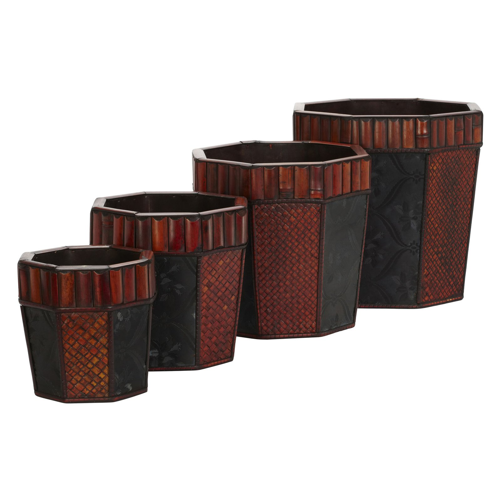 Nearly Natural 4pc Bamboo Octagon Decorative Planter Set