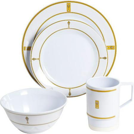 Galleyware Company Decorated Melamine Fish 24 Piece Dinnerware Set ...