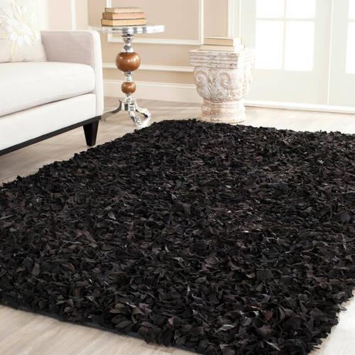 Safavieh Leather Shag Black Rug II