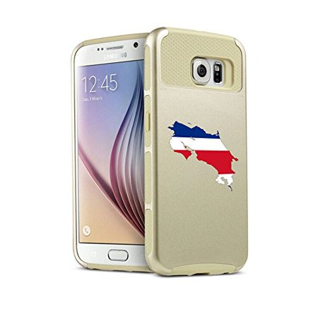 Samsung Galaxy  S6 Edge  Shockproof Impact Hard Soft Case Cover Costa Rica Costa Rican  Gold  Mip