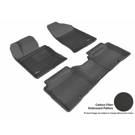 3D Maxpider 2011 2015 Kia Optima Front   Second Row Set All Weather Floor Liners In Black With Carbon Fiber Look